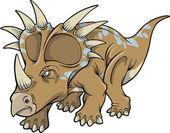 Vector Illustration of a Triceratops Dinosaur — Stock Vector