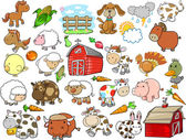 Farm Animal Vector Design Elements Set — ストックベクタ
