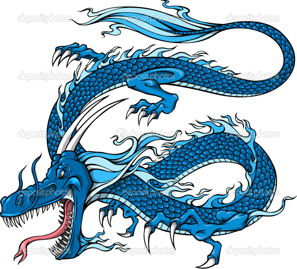 Blue Dragon Vector Illustration art  Stock Vector #8236575