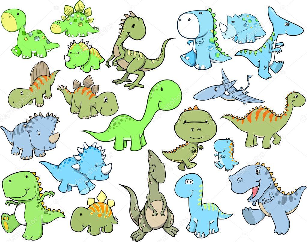 Cute Dinosaur Vector Illustration Design Set — Stock ...