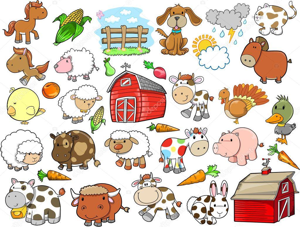 可爱的农场动物矢量设计元素设置
