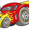 Stock Vector: Hot-Rod Race-Car Vector Illustration