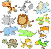 Safari Animal Design elements Vector Set — Stock Vector