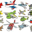 Stock Vector: Aircraft Set Vector Illustration