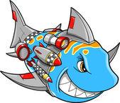 Robot Cyborg Shark Vector Illustration — Stock Vector