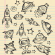 Outer Space Doodle Sketch Vector Set — Stock Vector