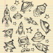 Stock Vector: Outer Space Doodle Sketch Vector Set