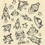 Outer Space Doodle Sketch Vector Set — Stock Vector