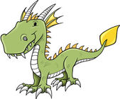 Cute Little Dragon Vector Illustration — Stock Vector
