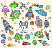 Outer Space Doodle Elements Vector Set — Stock Vector