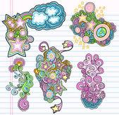 Groovy Doodle Design Elements Vector Set — Stock Vector