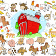 Farm Animals Design Elements Vector Set — Vettoriali Stock