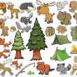 Stock Vector: Outdoors Wildlife Camping Vector Design Elements Set