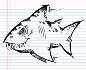 Croquis de cahier doodle vecteur de requin — Vecteur