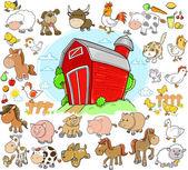 Farm Animals Design Elements Vector Set — Stock Vector