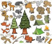 Outdoors Wildlife Camping Vector Design Elements Set — Stock Vector