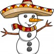Sombrero Christmas Holiday Snowman Vector — Stock Vector