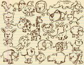 笔记本涂鸦素描动物矢量集 — 图库矢量图片
