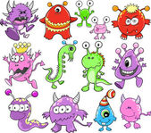 Cute Monster Alien Vector Elements Set — Stock Vector