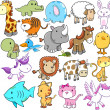 Cute Animal Vector Design elements Set — 图库矢量图片