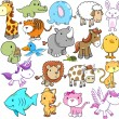 Cute Animal Vector Design elements Set — Imagens vectoriais em stock