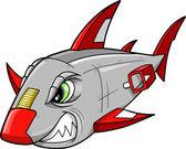 Cyborg Robot Shark Vector Art Illustration — Stock Vector
