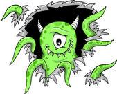 Green Halloween Monster Vector Illustration — Stock Vector