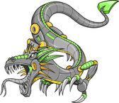 Green Robot Cyborg Dragon Vector Illustration — Stock Vector