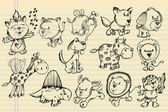 Notebook Doodle Sketch Animal Vector Set — Stock Vector