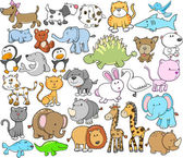 Cute Animal Vector Design elements Set — Stock Vector