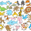 Cute Animal Vector Design Elements Set — Stock Vector #8404432