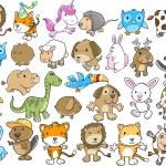 Cute Animal Vector Illustration Design Elements Set — Stock Vector