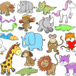Cute Animal Wildlife Vector Elements Set — Stock Vector