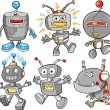 Cute Robot Cyborg Vector Illustration Design Set — Stock Vector #8471488