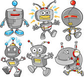 Cute Robot Cyborg Vector Illustration Design Set — Vector de stock
