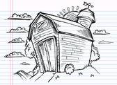 Notebook Doodle Sketch Barn Vector — Stock Vector