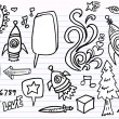 Notebook Doodle Sketch  Elements  Vector Set — Stock Vector