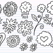 Notebook Doodle Sketch Flower Vector Set — Stock Vector