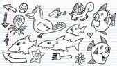 Laptop doodle schets elementen vector set — Stockvector