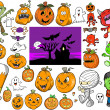 Halloween Autumn Vector Design Elements Set — Stock Vector