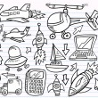 Doodle Sketch transportation and technology Vector Set — Stock Vector