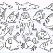 Notebook Doodle Sketch Ocean Animals Vector Set - Stock Vector
