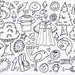 Notebook Doodle Sketch Design Elements Vector Set - Stock Vector