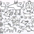 Notebook Doodle Sketch Animal Design Elements Vector Illustration Set — Stock Vector