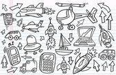 Doodle croquis transport et la technologie vector ensemble — Vecteur