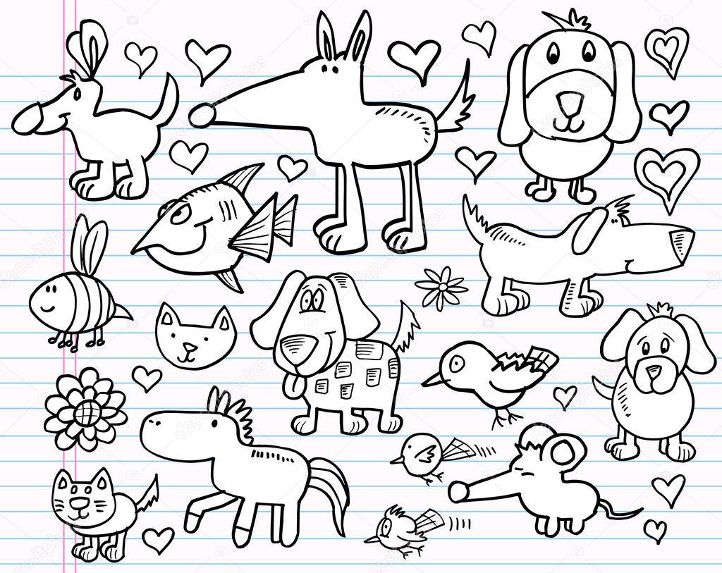 笔记本涂鸦素描动物设计元素矢量插图集