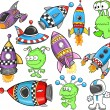 Stock Vector: Cute Outer Space Vector Design Elements Set