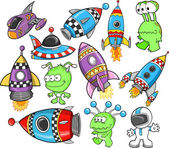 Cute Outer Space Vector Design Elements Set — Stock Vector
