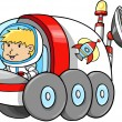 Cute Outer Space Moon Buggy Vector Illustration - Stock Vector