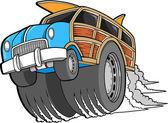Woody Wagon Racer Car Vector — Stock Vector